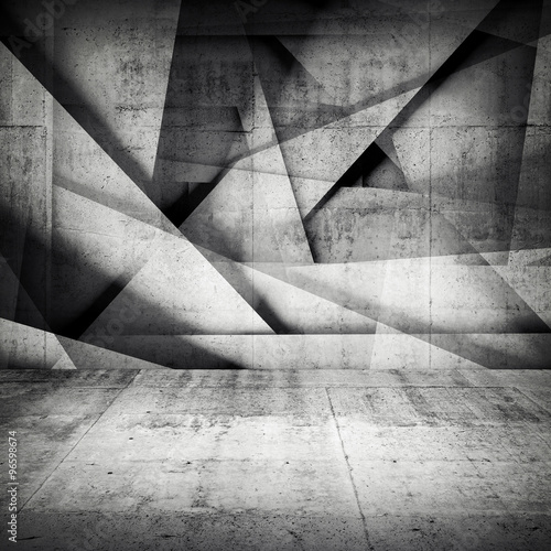 Chaotic polygonal relief pattern on concrete wall #96598674