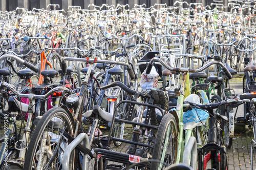 Fotografie, Obraz  Parkování jízdních kol organizovaný chaos v Amsterdamu, Nizozemsko