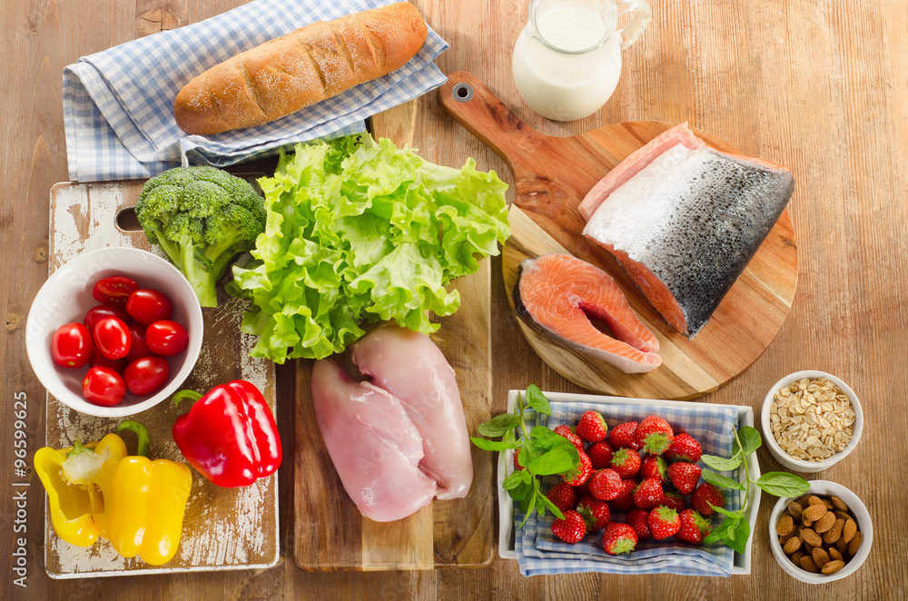 Fototapeta Balanced diet, healthy food concept