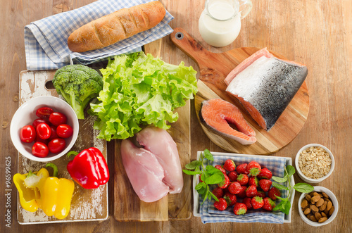 Balanced diet, healthy food concept