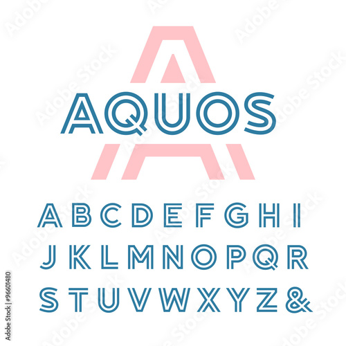 Fotografía  Linear font. Vector alphabet with latin letters.