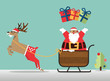 Merry Christmas scene with reindeer, santa' s sleigh and santa clause sprinkle the gift. Vector Illustration