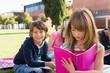 Kids on school campus