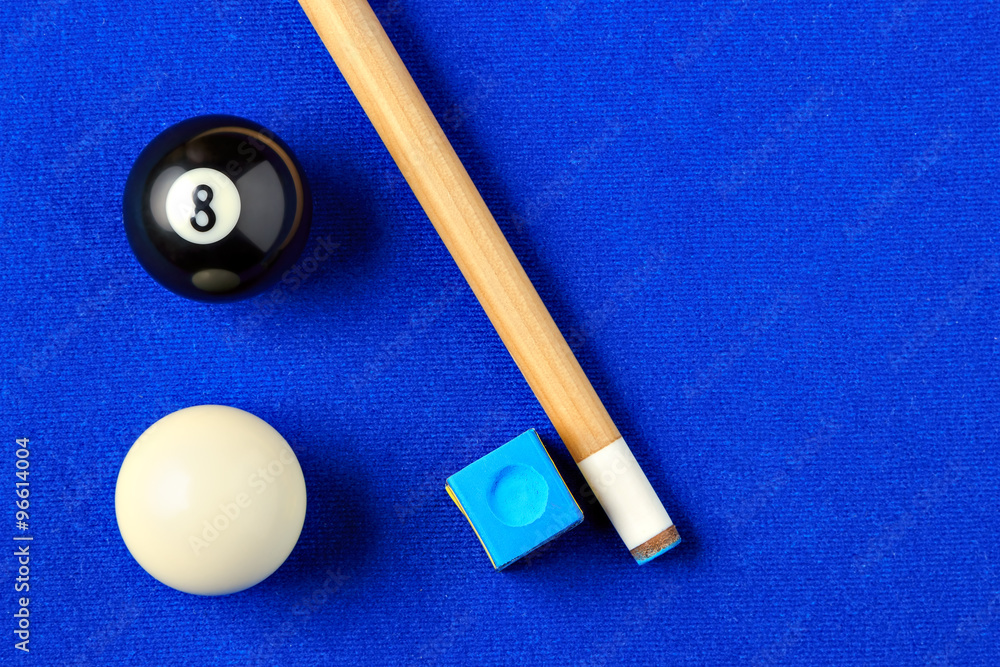 Photo Billiard Balls Cue And Chalk In A Blue Pool Table