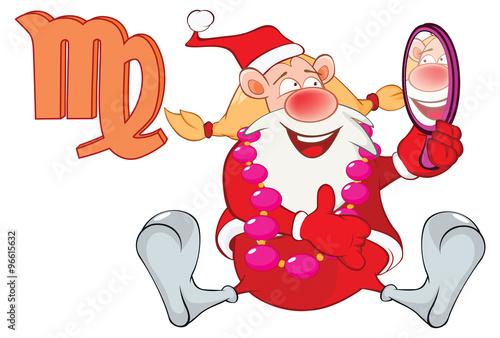 Foto auf AluDibond Ziehen Illustration of a Cute Santa Claus. Astrological Sign in the Zodiac Virgo. Cartoon Character.