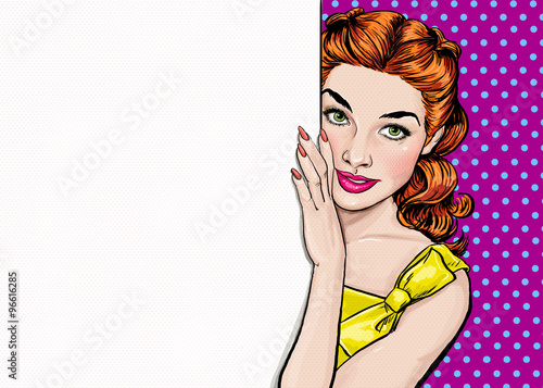 Beautiful girl looking from the empty board in Pop art style.Pop Art girl.Party invitation.Birthday greeting card.Hollywood movie star. Vintage advertising poster. Fashion woman. Ginger hair girl.