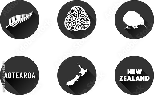 New Zealand Flat Icon Set Of Vector Graphic Icons Representing Symbols And Landmarks