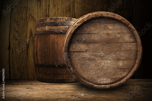 Photo old wooden barrel