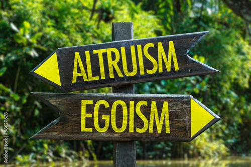Altruism - Egoism signpost with forest background Canvas Print