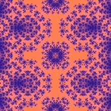 Blue Abstract Floral Ornament On Orange Background. Generated Fractal In Orange And Blue Colors.