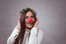 Smiling Woman With Red Nose