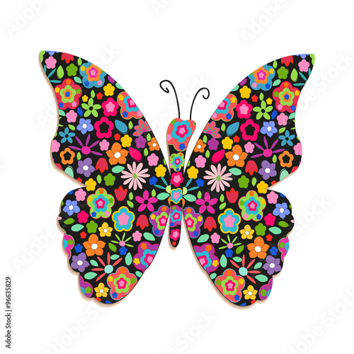 Foto op Aluminium Vlinders in Grunge Butterfly with sping colorful flowers vector