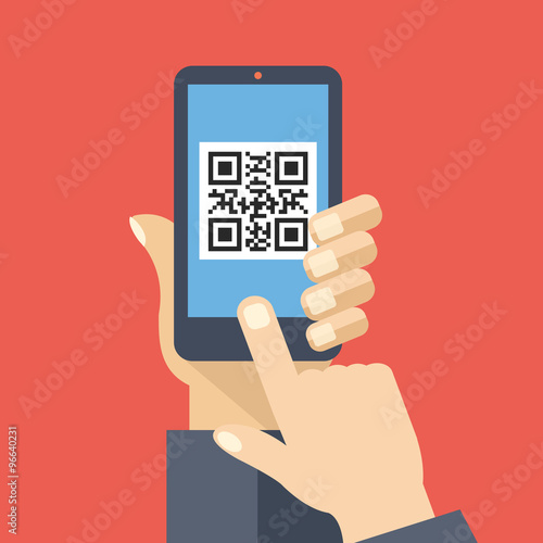 Fotografie, Obraz  QR code reader app on smartphone screen