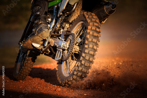 obraz lub plakat action of enduro motorcycle on dirt track
