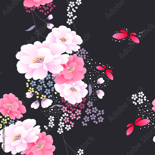 Japanese Traditional Floral Kimono Seamless Pattern Vector Illustration Buy This Stock Vector And Explore Similar Vectors At Adobe Stock Adobe Stock