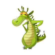 Illustration: The Crocodile Monster Isolated On White Background. Realistic Fantastic Cartoon Style Character / Monster Design.