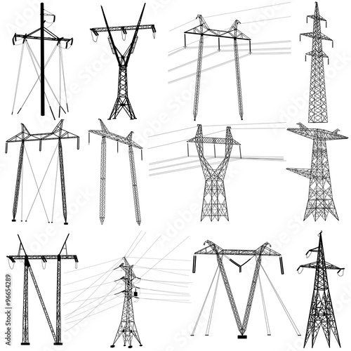 Valokuva  Set electricity transmission power lines. Vector illustration