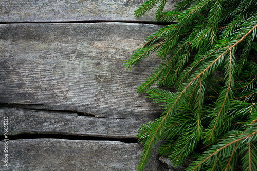 zielone-galezie-drzewa-iglastego-na-drewnianym-tle