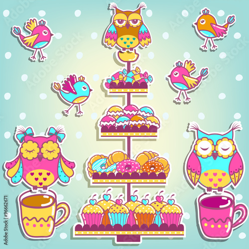 Poster Hibou Set for a birthday on a white background