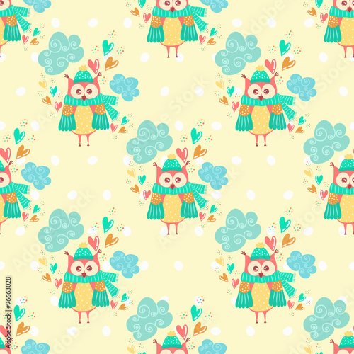 Poster Hibou Seamless pattern with clouds and owls