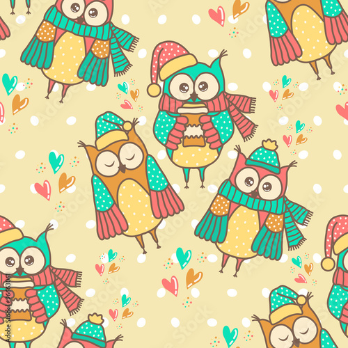 Poster Hibou Seamless pattern of colorful owls on a spotted background