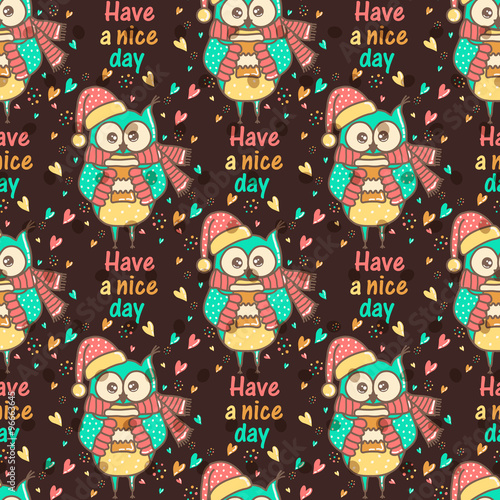 Poster Hibou Seamless pattern of colorful owls on a dark background