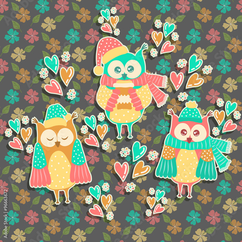 Poster Hibou Beautiful owl on a background with flowers