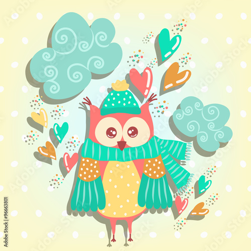 Poster Hibou Cute owl on a cloud