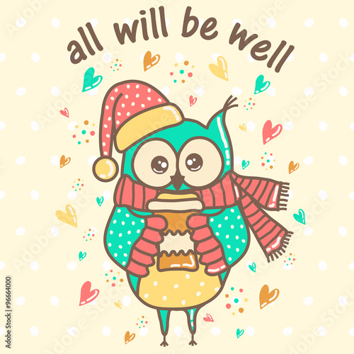 Poster Hibou beautiful owl with a cup on a light background with hearts