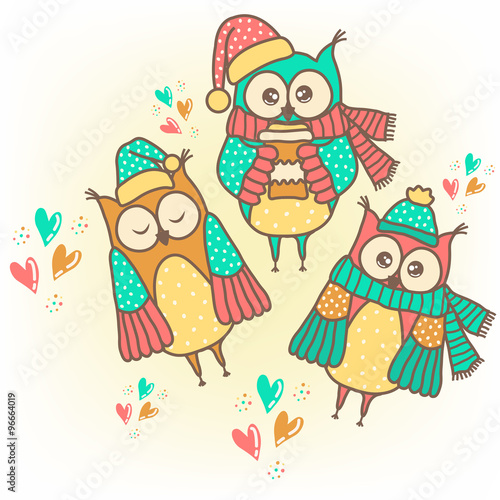 Poster Hibou Sample cards with funny owls