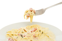 Spaghetti Carbonara Fork And Plate