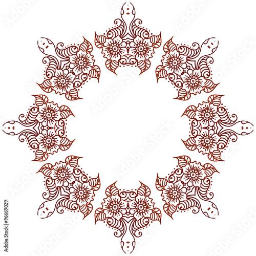 8ff7343d0 Circular floral ornament Mehndi Henna Tattoo Mandala, Yantra brown. Vintage  vector banner frame card for text invitations for wedding birthday  celebration, ...