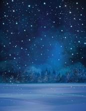 Vector Winter Night Scene, Sta...