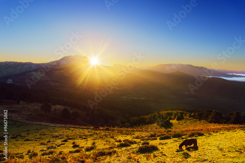 Fototapety, obrazy: sunrise from Saibi with view of Amboto mountain and a horse