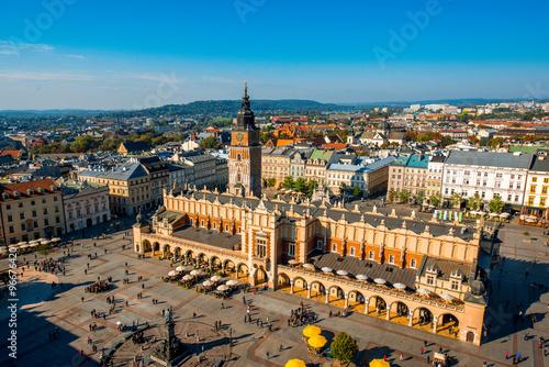Fototapeta Aerial view on the main market square in Krakow  obraz