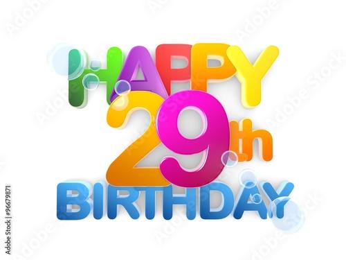 Photo  Happy 29th Birthday Title, light