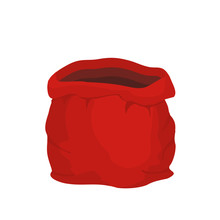Open Empty Sack Santa Claus. Red Big Bag For Gifts. Christmas An