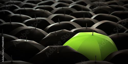 Fototapety, obrazy: Green umbrella in blacks