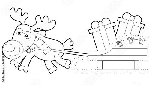 Tuinposter Cartoon scene of reindeer running with presents - illustration for children