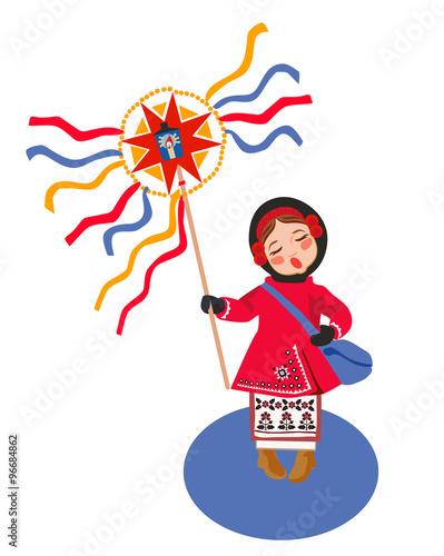 In de dag Ridders Celebrating winter holidays in Ukraine, card concept.