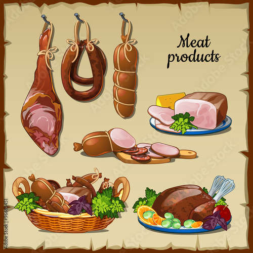 Photo  Delicious sausages, hams and and other meat products