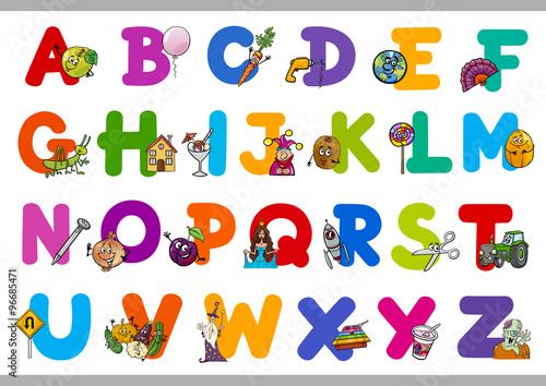 Poster de jardin Route educational cartoon alphabet for kids