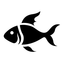 Black Cartoon Fish Icon
