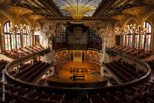 BARCELONA, CATALONIA - MARCH 9, 2013: Interior of Palace of Catalan Music in Barcelona, Catalonia - 96692000