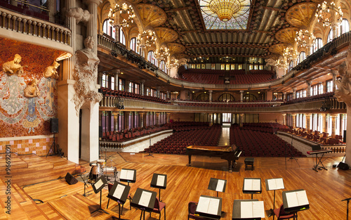 BARCELONA, CATALONIA - MARCH 9, 2013: Interior of Palace of Catalan Music in Barcelona, Catalonia - 96692091