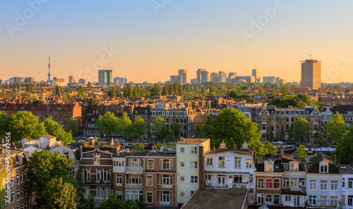 Poster Amsterdam Amsterdam south sunset cityscape skyline HDR