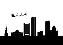 Santa Flying Over The City Of ...