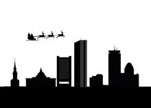 Santa Flying Over The City Of Boston