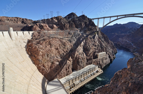 Papiers peints Barrage Hoover Dam in sunny day - border of Arizona and Nevada