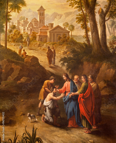 Carta da parati Ghent - Christ healing the blind men on the road to Jericho painting